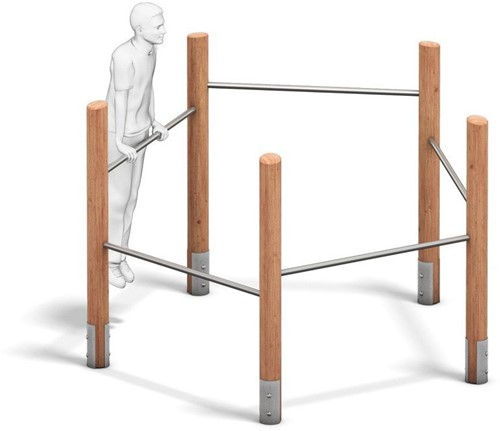 4FCircle outdoor fitnesstoestel rekstok, hout