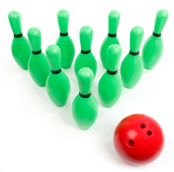 Pleinplakker accessoire Set á 10 bowlingkegels + bowlingbal