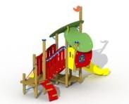 Combinatietoestel Aladin en de wonderlamp  - montage op de grond (type B) - Roestvrijstaal glijbaan