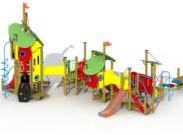 Combinatietoestel De 3 biggetjes - montage in de grond (type B) - rvs glijbaan
