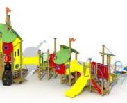 Combinatietoestel De 3 biggetjes - montage op de grond (type B) - kunststof glijbaan