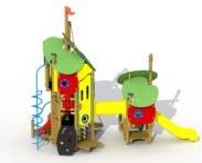 Combinatietoestel De Kikkerkoning - montage op de grond (type B) - Kunststof glijbaan