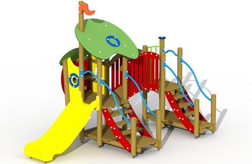 Combinatietoestel De wolf en de zeven geitjes - inox glijbaan met gebogen loopbrug - montage in de grond (type A)