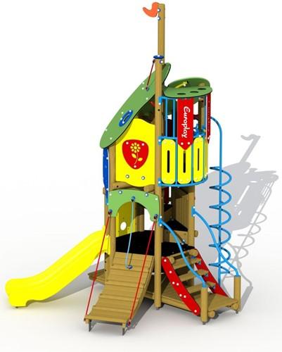 Combinatietoestel Doornroosje inox glijbaan - montage in de grond (type A) - Kunstof glijbaan
