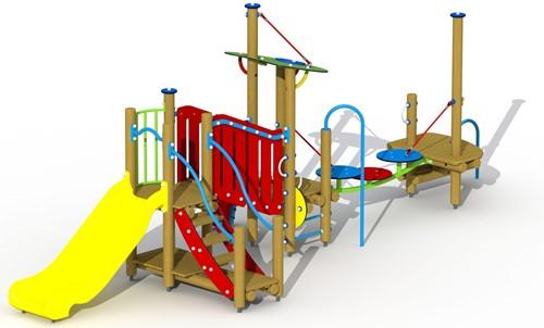 Combinatietoestel De rattenvanger van Hamelen - montage in de grond (type A) - kunststof glijbaan