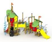 Combinatietoestel Het lelijke eendje - montage op de grond (type B) - kunstof glijbaan