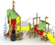 Combinatietoestel Blauwbaard - montage op de grond (type B) - kunstof glijbaan