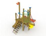 Combinatietoestel De kleine zeemeermin  - montage op de grond (type B) - rvs glijbaan