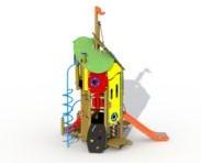 Combinatietoestel Doornroosje inox glijbaan - montage op de grond (type B) - rvs glijbaan