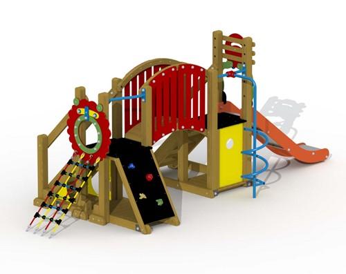 Speeltoestel Mammoet  - gebogen loopbrug en spiraalglijstang - montage op de grond (type B) - Roestvrijstaal