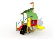 Combinatietoestel Sneeuwwitje inox glijbaan - montage op de grond (type B) - kunstof glijbaan