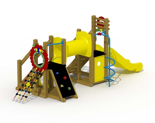 Speeltoestel Mammoet  - kruiptunnel,spiraalglijstang - montage in de grond (type A) - Roestvrijstaal