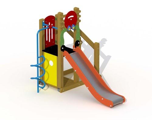 Speeltoestel Kreeftje  - met inox glijbaan en spiraal glijstang - montage op de grond (type B)