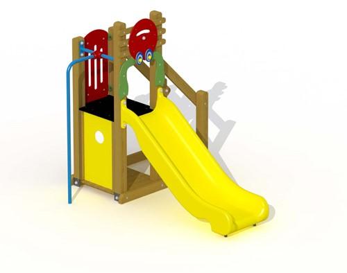 Speeltoestel Kreeftje - met kunststof glijbaan en rechte glijstang - montage in de grond (type A)