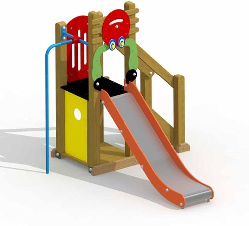 Speeltoestel Kreeftje - met inox glijbaan en rechte glijstang - montage op de grond (type B)