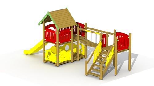 Combinatietoestel Vesting -  kunststof glijbaan, soepele loopbrug - montage op de grond (type B)