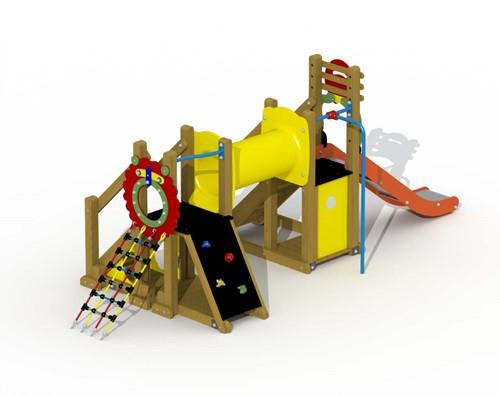 Speeltoestel Mammoet  - kruiptunnel en rechte glijstang - montage in de grond (type A) - Kunststof