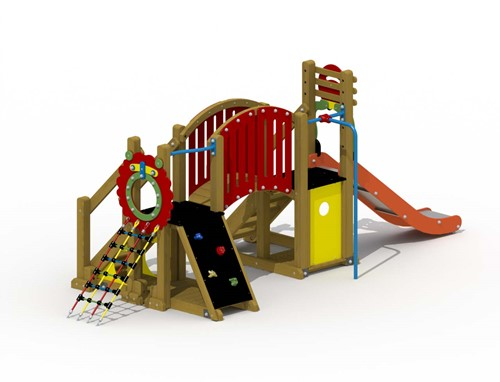 Speeltoestel Mammoet  - gebogen loopbrug en rechteglijstang - montage op de grond (type B) - Roestvrijstaal
