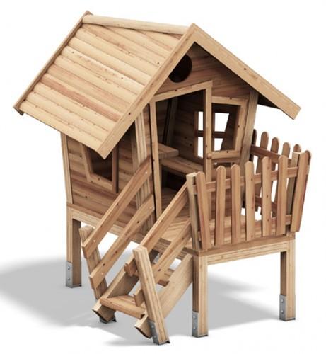 Speelhuis Dwerg met veranda, blank hout