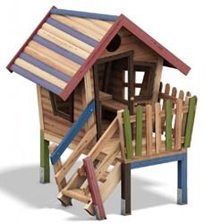 Speelhuis Dwerg met veranda, met kleuraccenten