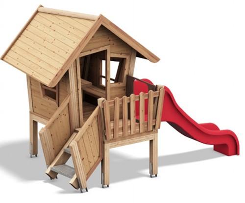 Speelhuis Dwerg met veranda en glijbaan