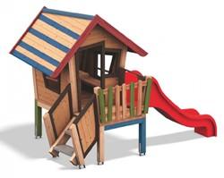 Speelhuis Dwerg met veranda en glijbaan, gekleurd