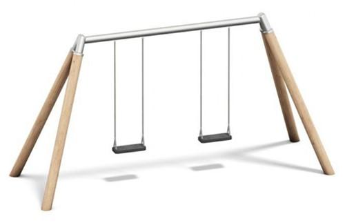 Dubbele schommel, hout met metalen bovenligger, 220 cm hoog