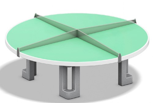 Tafeltennistafel rond, acrylbeton blad