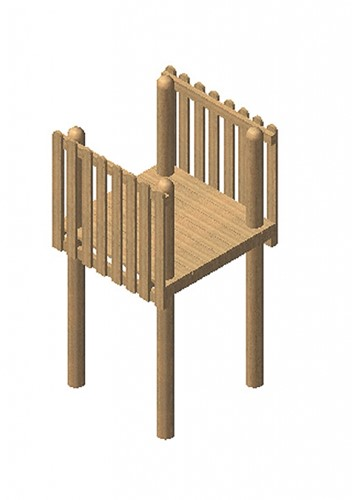 Robinia vierkante speeltoren, platform 200 cm