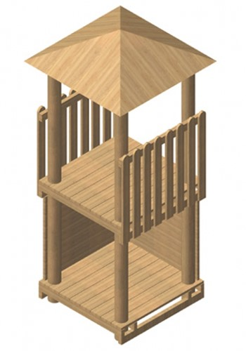 Robinia vierkante speeltoren, platform 175 cm
