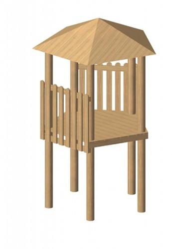 Robinia vijfhoekige speeltoren, platform 175 cm