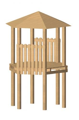 Robinia zeshoekige speeltoren, platform 200 cm
