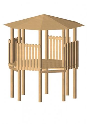 Robinia achthoekige speeltoren, platform 175 cm