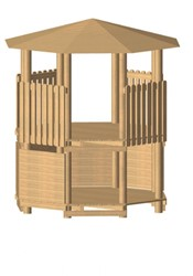 Robinia achthoekige speeltoren, platform 200 cm