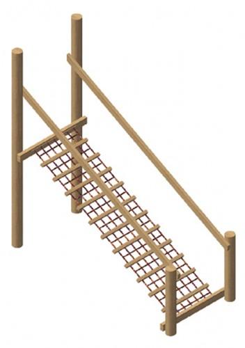 Netloopbrug met robinia leuning