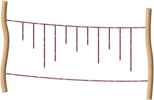 Tarzanbrug, robinia met touw