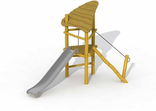 ECO-Play robinia speeltoren met dak en rvs glijbaan
