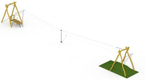 ECO-Play robinia kabelbaan (met 1 platform)