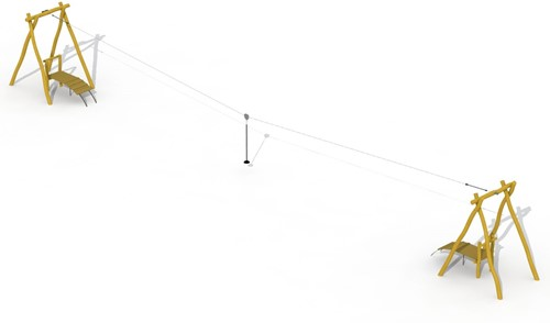 ECO-Play robinia kabelbaan (met 2 platformen)