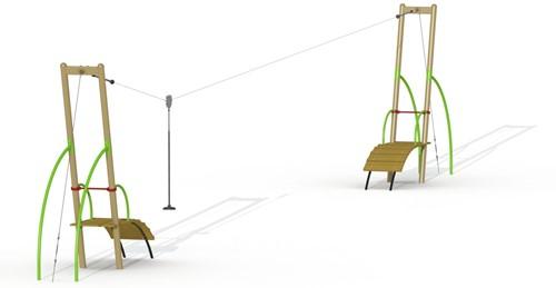 Metalen kabelbaan, 2 platformen
