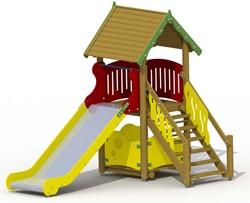 Speeltoestel Glijbaanhuisje met rvs glijbaan