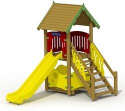 Speeltoestel Glijbaanhuisje met kunststof glijbaan