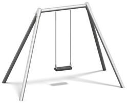 Schommel, metalen bovenligger en staanders hoogte 260 cm
