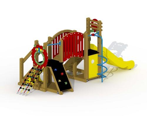 Speeltoestel Mammoet  - gebogen loopbrug en spiraalglijstang - montage in de grond (type A)