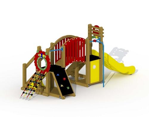 Speeltoestel Mammoet  - loopbrug en rechte glijstang - montage in de grond (type A) - Kunststof
