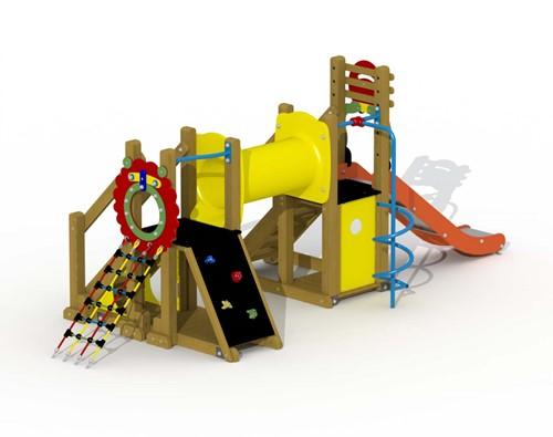 Speeltoestel Mammoet  - kruiptunnnel en spiraal glijstang - montage op de grond (type B)