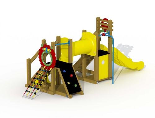 Speeltoestel Mammoet  - gebogen loopbrug en rechteglijstang - montage op de grond (type B) - Kunststof
