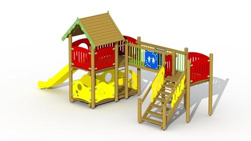 Combinatietoestel Vesting - kunstof glijbaan, vaste loopbrug - montage op de grond (type B)