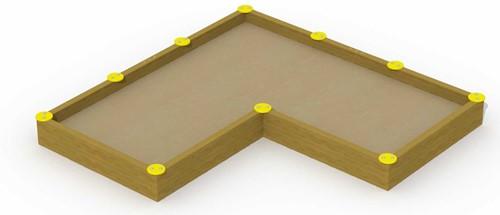 Zandbak, afm. 3,6 x 1,8 m, L-vorm + 10 zittingen
