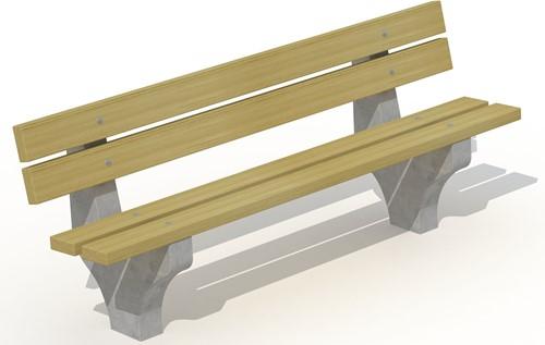 Zitbank met betonnen voet - 4 planken in grenen